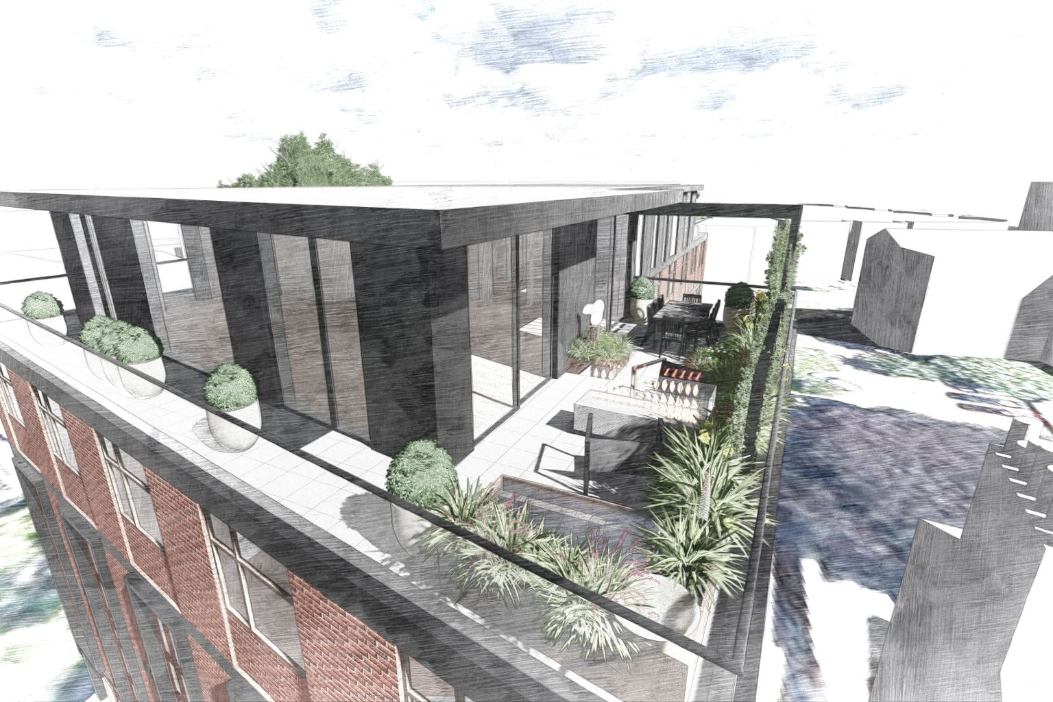 Penthouse roof terrace exeter harris bugg for Terrace exeter